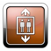stock photo of elevator icon  - Icon Button Pictogram Image Illustration with Elevator symbol - JPG