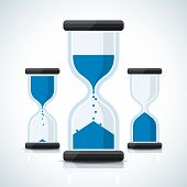 Blue business styled sand clock icons