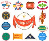 Set of flat colored vintage labels. Collection 9
