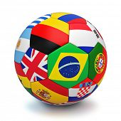 Soccer ball with world countries flags isolated on white background