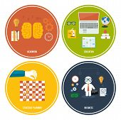Icons For Education, Headwork, Strategy, Business.