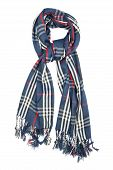 A scarf is woolen in a blue cage with red and white filaments and fringe, isolated on a white backgr