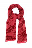 the scarf red velvet with a picture, isolated on a white background