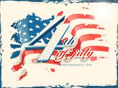 Vintage poster, banner or flyer design with stylish text 4th of July on grungy flag colors backgroun