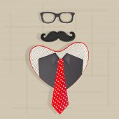 Happy Father's Day celebration concept with eye glasses, mustache, suit and red necktie on abstract brown background.