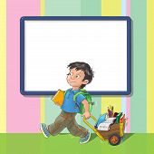 Template greeting card with schoolboy