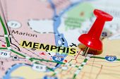 stock photo of memphis tennessee  - memphis tn city pin on the map - JPG