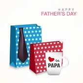 Happy Father's Day celebrations concept with stylish shopping bags, necktie and mug on abstract back