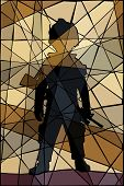 Editable vector mosaic illustration of a child dressed as a soldier
