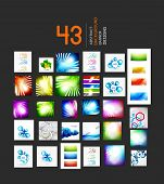 Mega set of business geometric layout abstract templates. 43 backgrounds