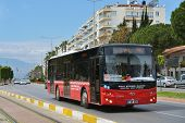 ANTALYA, TURKEY - MARCH 26, 2014: Public bus Antobus, from Antalya bus, on the line. Public transpor