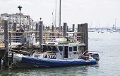 NYPD boat providing security at Sheepshead Bay in Brooklyn