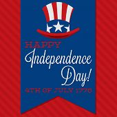 Retro Ribbon Independence Day Card In Vector Format.