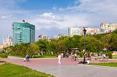 Samara, Russia - May 17, 2014: People Walking Along The Waterfront In Samara On A Sunny Day. Samara