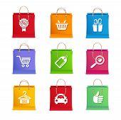 Vector Shopping icon set on shopping bag