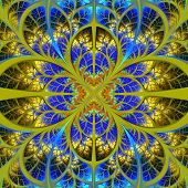 Symmetrical Fractal Pattern. Collection - Tree Foliage. Blue And Yellow Palette.