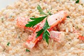 picture of cooked crab  - Risotto with crab meat and herbs - JPG