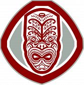 Maori Mask Face Front Shield Retro