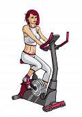 Girl doing exercise on a velosimulator