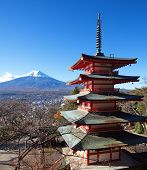 red pagoda chureito and mountain fuji from yamanashi prefecture
