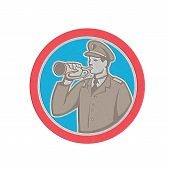 image of military personnel  - Metallic styled illustration of a soldier military police personnel blowing a bugle set inside a circle done in retro style - JPG