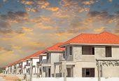 foto of land development  - Site construction of housing with sky background - JPG