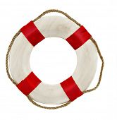Red lifesaver lifebuoy life belt isolated on white background