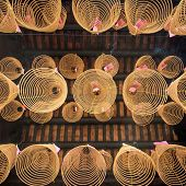 Spiral incense in the temple of Ho Chi Minh City, Vietnam