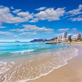 Calpe playa Cantal Roig beach near Penon de Ifach at Alicante spain