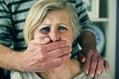 picture of domestic violence  - Portrait of woman victim of domestic violence - JPG