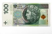 picture of zloty  - 100 polish zloty isolated over white background - JPG