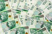 Background Of 100 Pln (polish Zloty) Banknotes