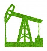 Green oil pump on white background