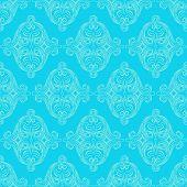 Retro Floral Blue Pattern