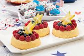 image of blue angels  - Tray of fresh Angel food fruit cakes with raspberry blueberry and star fruit - JPG