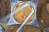 JERUSALEM, ISRAEL - MARCH 9, 2012: Facilities in the Holy Sepulchre. On a ceiling image of the Christ Savior
