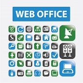 web internet office glossy buttons, icons set, vector