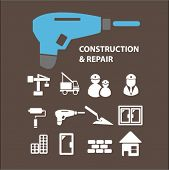 construction, tools, repair, works, builder, crane, windows, doors, city icons set, vector