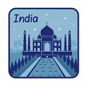 Illustration with Taj Mahal in India