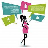 Silhouette of a pregnant woman with speech bubbles