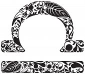 picture of libra  - Libra zodiac sign made of black floral elements - JPG