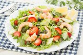 fresh shrimp salad with lettuce; berries, rocket