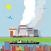 Vector concept - factory building and landscape - air and soil pollution