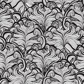 Flower Seamless Pattern In Black And White