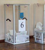 KIEV, UKRAINE - May 25, 2014: Vote for the early presidential elections in Ukraine, voting box with