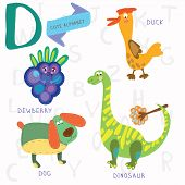 Very Cute Alphabet.d Letter. Dewberry,duck,dog,d Inosaur.