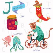 Very Cute Alphabet. J Letter. Jam, Jalapeno, Jellyfish, Jaguar