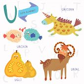 Very Cute Alphabet.u Letter. Urial,urchin,unicorn,ugli Fruit.