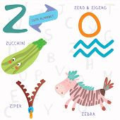 foto of zero  - Alphabet design in a colorful style - JPG
