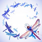 Flying Purple Watercolor Dragonflies
